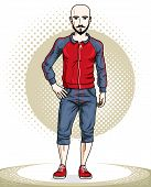 Handsome bald young man standing. Vector illustration of sportsman with beard and whiskers. Active and healthy lifestyle theme cartoon. poster