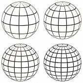 Set 3D ball globe model of the earth sphere with a coordinate grid, vector globe with meridian and parallel, longitude, map template poster