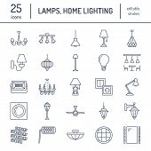 Light fixture, lamps flat line icons. Home and outdoor lighting equipment - chandelier, wall sconce, desk lamp, light bulb, power socket. Vector illustration, signs for electric, interior store. poster