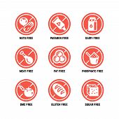 Food dietary symbols. Gmo free, no gluten, sugarless and allergy vector icons set. No sugar and gluten, ban gmo amd phosphate illustration poster