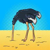 Ostrich hide head in sand pop art retro vector illustration. Avoiding problems metaphor. Comic book style imitation. poster