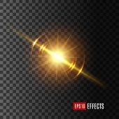 Light flash with lens flare effect of glittering sun or starlight beam and sparkling ray on transparent background. Vector isolated twinkling star or solar space burst and gleaming bokeh glare sparkle poster