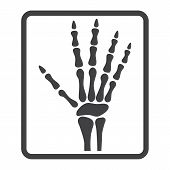 Hand X-ray line icon, medicine and healthcare, radiology sign vector graphics, a linear pattern on a white background, eps 10. poster