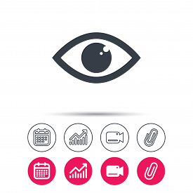 Eye icon. Eyeball vision symbol. Statistics chart, calendar and video camera signs. Attachment clip web icons. Vector