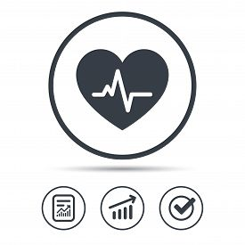 Heartbeat icon. Cardiology symbol. Medical pressure sign. Report document, Graph chart and Check signs. Circle web buttons. Vector
