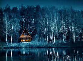 Night Dark Forest In Fall Season, Halloween