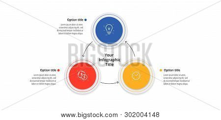 Business Process Chart Infographics With 3 Step Circles. Circular Corporate Workflow Graphic Element
