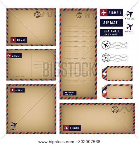 Vintage Airmail Stationery Set Vector Paper, Letter, Envelope, Postcard, Tag