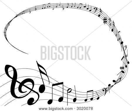 vector illustration of musical notes background on white poster
