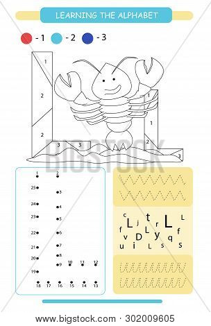 Letter L And Funny Cartoon Lobster. Animals Alphabet A-z. Coloring Page. Printable Worksheet. Handwr