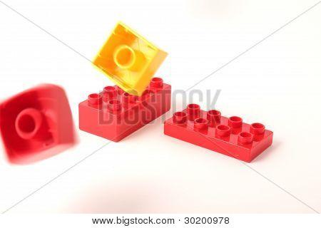 Flying plastic blocks