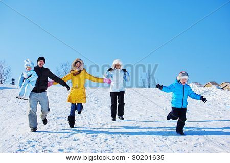 Winter leisure time for happy family