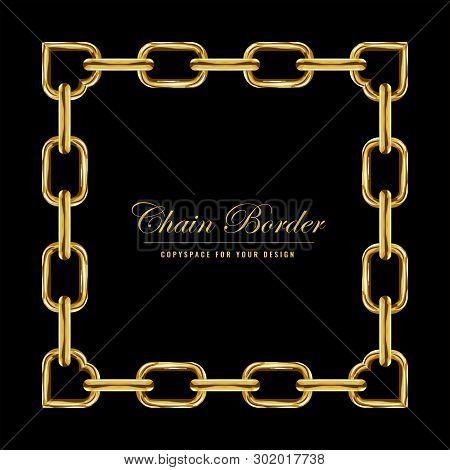 Golden Chain Square Border Frame. Rectangle Border With Golden Color. Jewelry Design. Vector Illustr