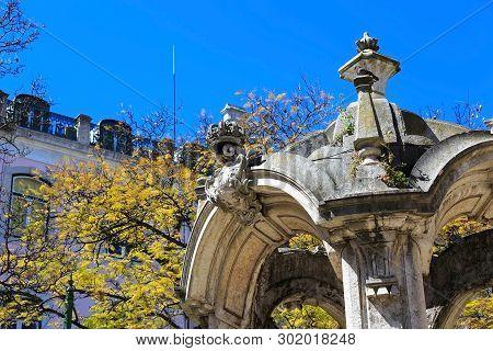 Lisbon, Portugal Temple In Square Largo Do Carmo, In The District Of Chiado