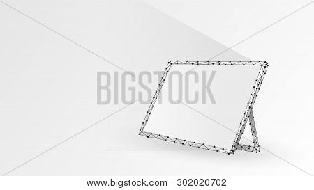 Graphic Tablet, Laptop, Notebook Composed Of Polygons. Devices, Touchpad, White Screen Concept. Abst