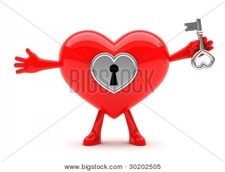 Heart shaped mascot with lock holding key