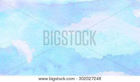 Soft Smeared Light Sky Blue Color Watercolor Background. Aquarelle Painted Paper Textured Canvas For