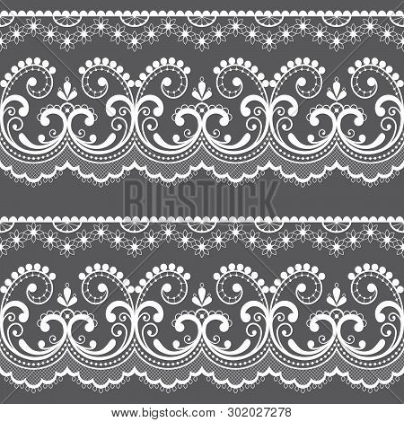Victorian Lace Seamless Design, Old Fashioned Repetitive Design With Flowers And Swirls In White On