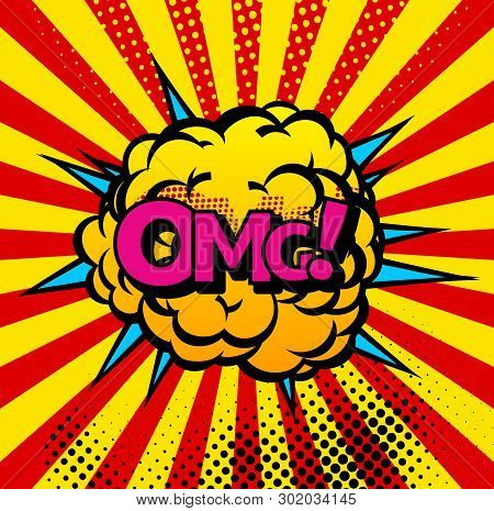 Comic Book Bubbles And Sound Blasts Icons With Sun Beams. Vector Cartoon Pop Art Bubbles Of Omg Soun