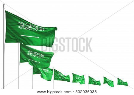 Cute Any Feast Flag 3d Illustration  - Many Saudi Arabia Flags Placed Diagonal Isolated On White Wit