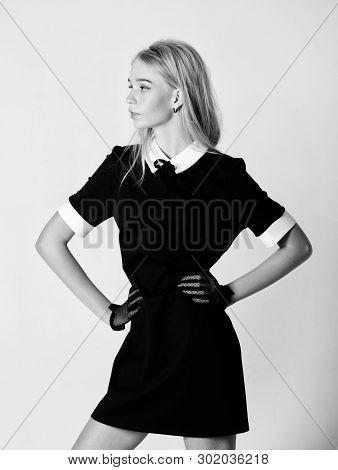 Girl Blonde Wear Elegant Black Dress. Formal Uniform Elite School College Or Housemaid. Vintage Mode