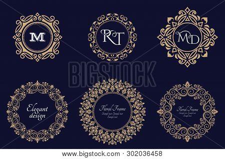 Set Of Circular Baroque Patterns. Round Floral Ornaments. Vintage Frames. Greeting Card. Wedding Inv
