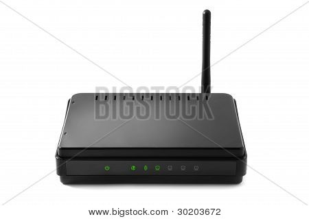 Close up of wireless router isolated on white poster