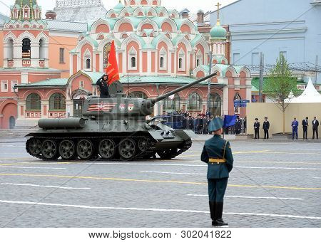 Moscow, Russia - May 9, 2019:medium Tank T-34-85 On Red Square During The Parade Dedicated To The 74