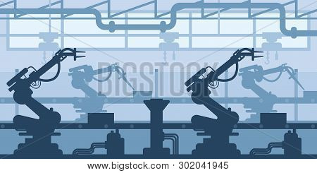 Machine-building Plant, Factory Silhouette, Interior Of Enterprise Scene, Industrial Industry.