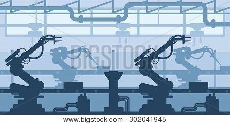 Machine-building Plant, Factory Silhouette, Interior Of Enterprise Scene, Industrial Industry.