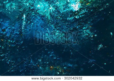 Abstract Blue Teal Color Background. Acrylic Oil Paint Pattern Texture Similar To Ocean Sea Waters D