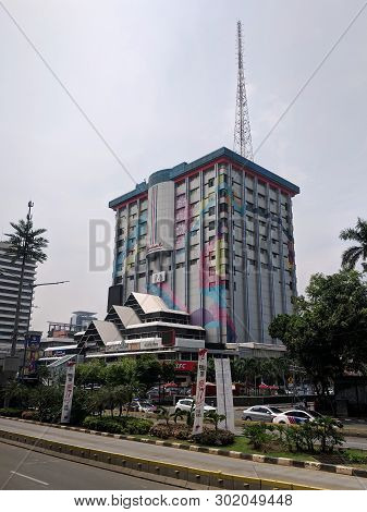 Jakarta, Indonesia - April 17, 2019: Background Of Tall Buildings On Jalan Thamrin Thamrin Street.