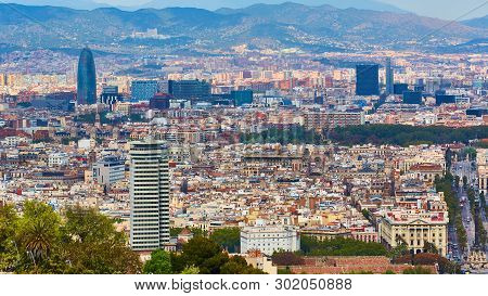 Top view of Barcelona from Montjuic hill in cloudy day. Catalonia. poster