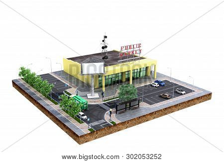 Piece Of Land Supermarket With Parking On The Ground 3d Render On White No Shadow