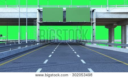 Day Road Freeway Travel Concept Route Big Board 3d Render On Green Screen