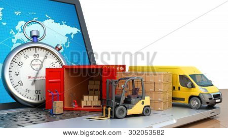 Fast Online Delivery Concept Loader Minibus Container With Boxes Are On The Laptop 3d Render On Whit