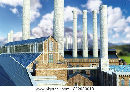 Industrial Background Old Industrial Buildings 3d Render