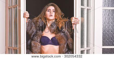 Confident In Her Magnetism. Woman Seductive Wear Luxury Fur And Lingerie. Seduction Art Concept. Fem