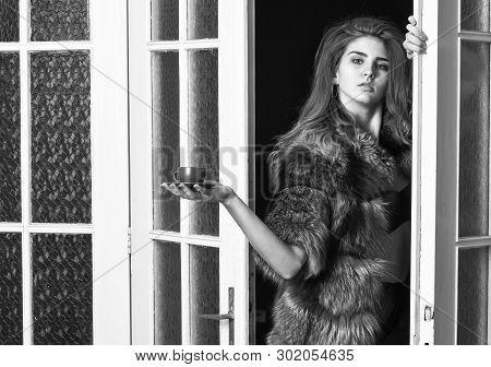 Sexy Servant Bring Morning Coffee. Seduction Art Concept. Woman Seductive Wear Fur And Lingerie. Fem