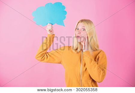 Ideas And Thoughts Copy Space. Girl Cute Blonde With Speech Bubble. Thought Of Inspired Adorable Wom