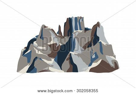 Mountain Or Crag Isolated On White Background. Rocky Cliff Or Mount For Adventure Tourism, Hiking An
