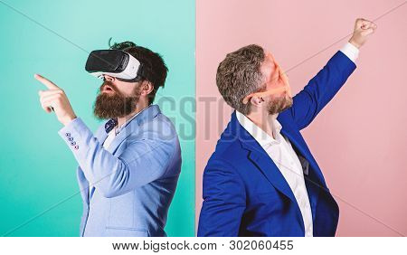 Business implement modern technology. Man with beard in VR glasses and louvered plastic accessory. Guy interact in virtual reality. Hipster exploring virtual reality. Real fun and virtual alternative poster