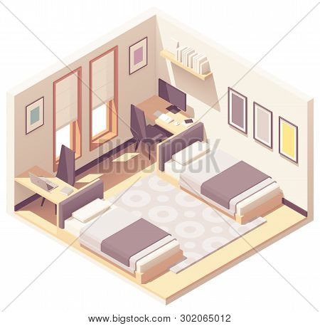 Vector Isometric Dormitory Or Dorm Room Interior Cross-section With Two Beds, Chairs And Tables