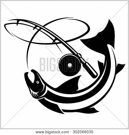 Tuna Big Fishing On White Logo Illustration. Vector Illustration Can Be Used For Creating Logo And E
