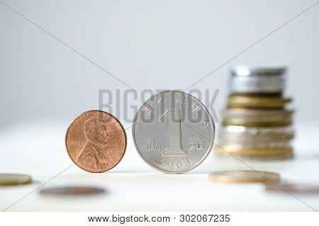 Face To Face Of Usa Dollar Coin And China Yuan Coin For Tariff Trade War And Tech War Between United