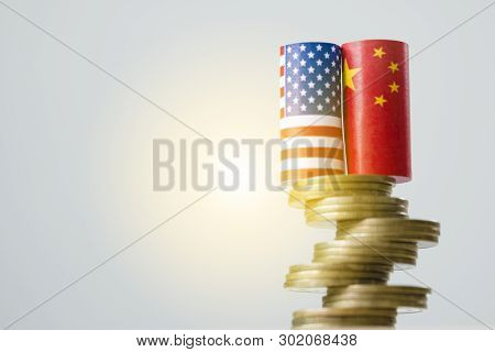 Usa Flag And China Flag On Coins Stacking Graph For Tariff Trade War Between United States And China