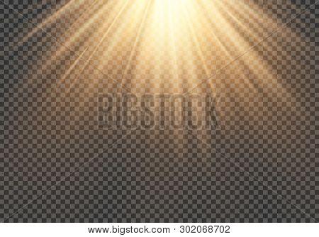 Realistic transparent sunlight special lens flash light effect.front sun lens flash. Vector blur in the light of radiance. Element of decor. EPS 10 illustration poster