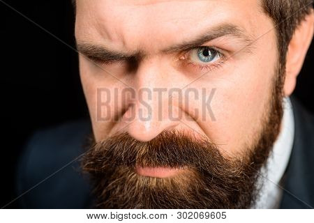 Bearded Man In Suit. Serious Man With Beard&mustache. Stylish Man With Long Beard. Handsome Man With
