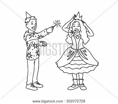 Happy Kids Having Fun. Monochrome Vector Illustration Of Boy And Girl Plaing Together On White Backg