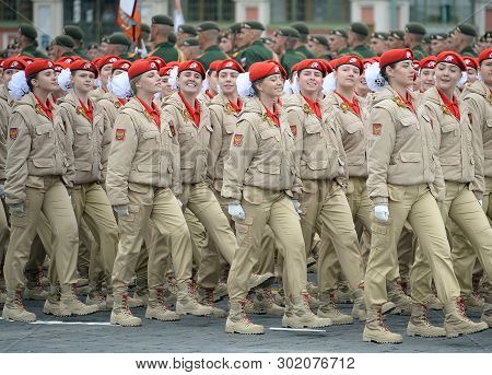Moscow, Russia - May 9, 2019: Young Warriors All-russian Military-patriotic Movement `yunarmiya` On